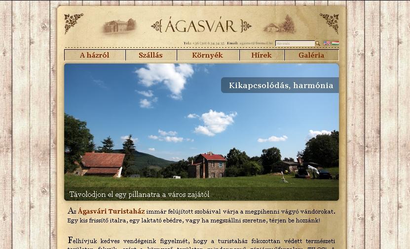 Agasvar.hu homepage