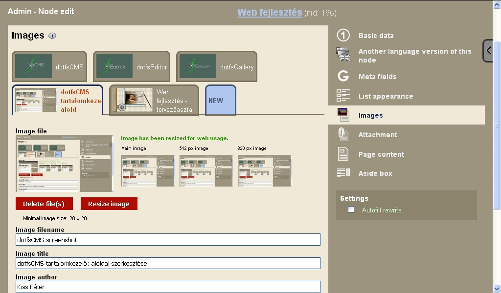 dotfsCMS content management system: editing a web page.